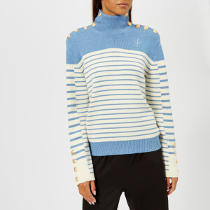 JW Anderson Women's Multi Buttons Turtle Neck Mariniere Jumper - Denim Melange
