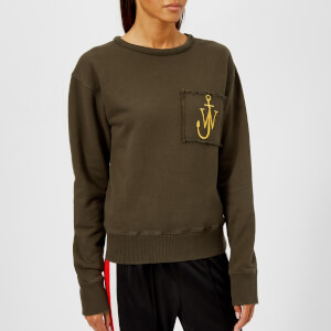 JW Anderson Women's Raw Edge Logo Sweatshirt with Pocket Detail - Khaki