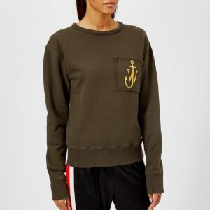 JW Anderson Women's Raw Edge Logo Sweatshirt with Pocket Detail - Khaki