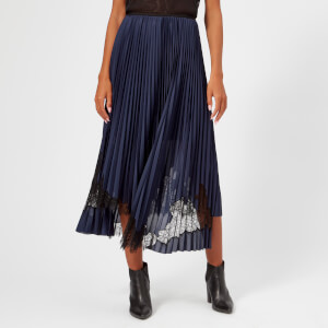 Helmut Lang Women's Pleated Tricot Skirt - Blue