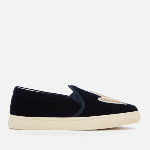 Soludos Women's Velvet Llama Slip-On Trainers - Navy