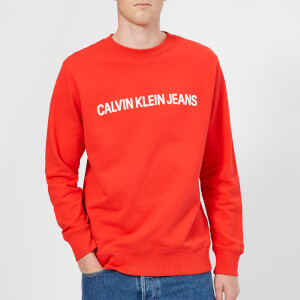 Calvin Klein Jeans Men's Institutional Logo Sweatshirt - Tomato