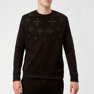 Neil Barrett Men's Fairisle Military Star Sweatshirt - Black/Black