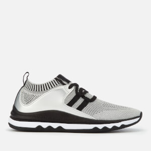 Armani Exchange Women's Knitted Running Style Trainers - Silver