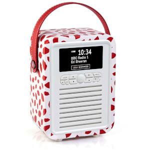 VQ Retro Mini DAB & DAB+ Digital Radio with FM, Bluetooth and Alarm Clock - Lulu Guinness Red Lips
