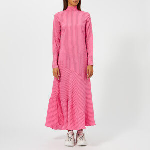 Ganni Women's Lynch Seersucker Dress - Hot Pink