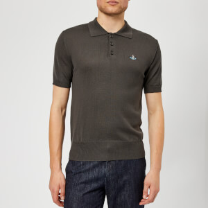 Vivienne Westwood Men's Classic Knitted Polo Shirt - Dark Grey