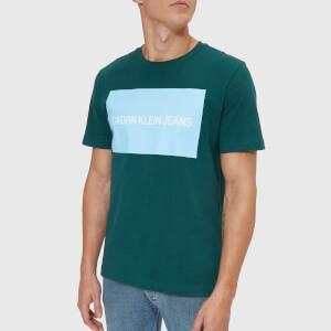 Calvin Klein Jeans Men's Institutional Box Logo Regular T-Shirt - June Bug/Chambray Blue