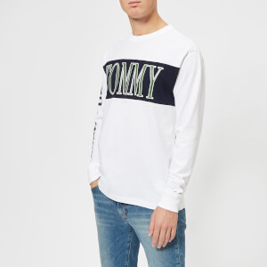 Tommy Jeans Men's TJM Retro Logo Long Sleeve T-Shirt - Classic White