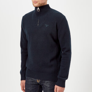 Barbour Men's Lambswool Half Zip Knitted Jumper - Navy