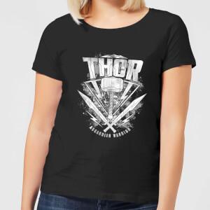 T-Shirt Femme Marvel - Thor Ragnarok - Logo du Marteau de Thor - Noir