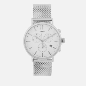 Timex Men's Fairfield Chronograph Mesh Strap Watch - Silver-Tone/White