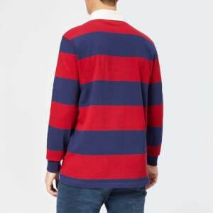 Polo Ralph Lauren Men's Stripe Long Sleeve Rugby Shirt - Eaton Red/Newport Navy: Image 2