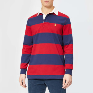Polo Ralph Lauren Men's Stripe Long Sleeve Rugby Shirt - Eaton Red/Newport Navy: Image 1