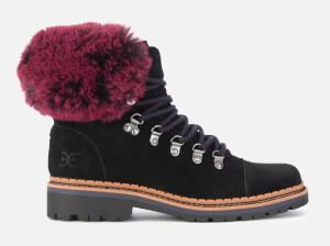 Sam Edelman Women's Bowen Velutto Suede Hiker Style Boots - Black/Raspberry Wine