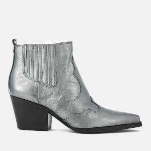 Sam Edelman Women's Winona Distressed Metallic Leather Western Boots - Anthracite