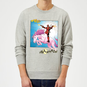 Marvel Deadpool Unicorn Battle Sweatshirt - Grey