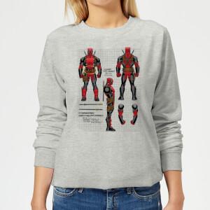 Marvel Deadpool Action Figure Plans Women's Sweatshirt - Grey