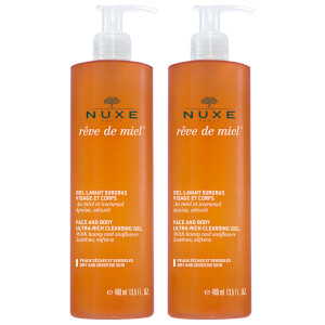 NUXE Rêve de Miel Duo Face and Body Cleansing Gel 2 x 200ml (Worth £38.00)