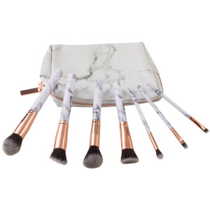 Zoe Ayla 7 Piece Marble Make Up Brush Set - White Marble