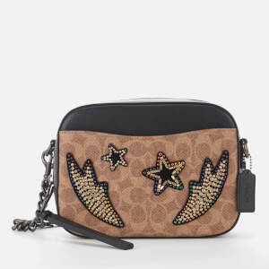 Coach Women's Rainbow Crystal Signature Coated Camera Bag - Tan Black Multi