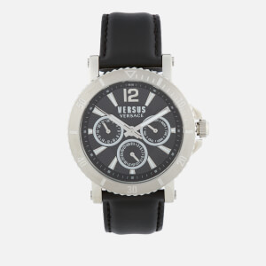 Versus Versace Men's Steenberg Leather Strap Watch - Black/Silver