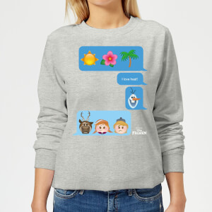 Disney Frozen I Love Heat Emoji Women's Sweatshirt - Grey