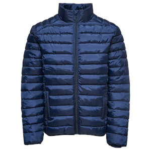 Only & Sons Men's Liner Puffer Stand Collar Jacket - Dark Navy