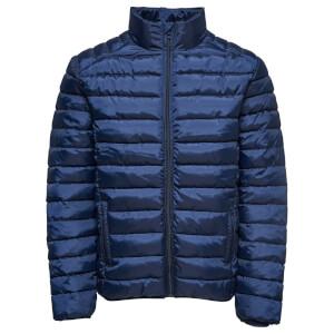Only & Sons Men's Liner Puffer Stand Collar Jacket - Dark Navy