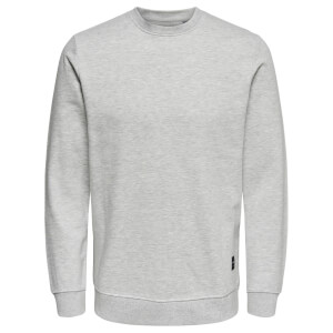 Only & Sons Men's Basic Crew Neck Sweatshirt - Light Grey Marl