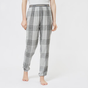 Emporio Armani Women's Tartan Flannel Pants with Cuffs - Grey