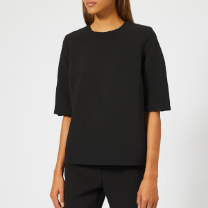 Victoria, Victoria Beckham Women's Sponge Wool Blend Twist Sleeve Top - Black