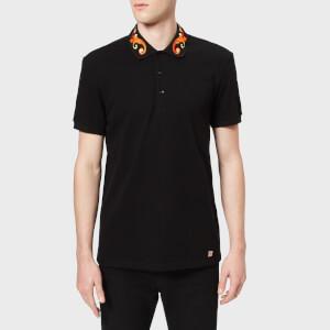 Versace Collection Men's Collar Detail Polo Shirt - Nero