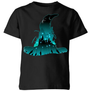 Harry Potter Hogwarts Silhouette Kinder T-shirt - Zwart