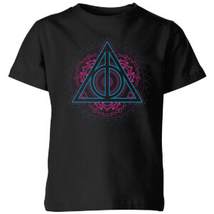 Harry Potter Neon Deathly Hallows Kids' T-Shirt - Black