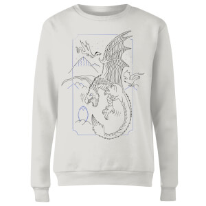 Harry Potter Dragon Line Art Women's Sweatshirt - White