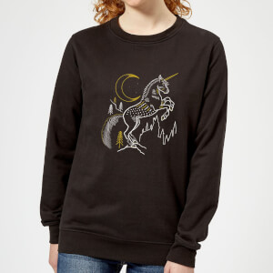 Harry Potter Unicorn Line Art Damen Pullover - Schwarz