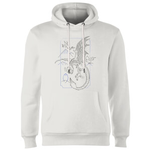 Harry Potter Dragon Line Art Hoodie - White