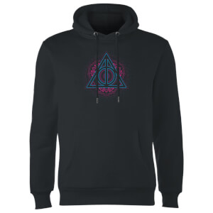 Harry Potter Neon Deathly Hallows Hoodie - Black