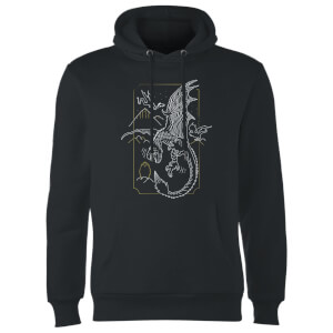 Harry Potter Dragon Line Art Hoodie - Black