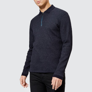 Ted Baker Men's Caoco Zip Polo Neck Jumper - Navy