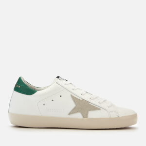 Golden Goose Deluxe Brand Women's Superstar Trainers - White/Emerald/Gold Lettering