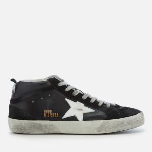 Golden Goose Deluxe Brand Men's Mid Star Sneakers - Black Leather/White Star