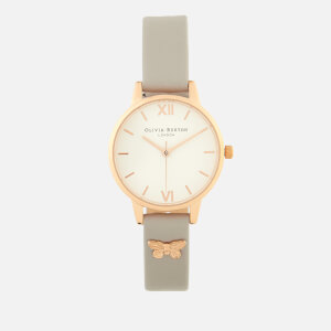 Olivia Burton Women's Embellished Butterfly Strap Watch - Grey Lilac/Rose Gold