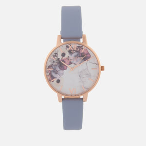 Olivia Burton Women's Marble Florals Watch - Chalk Blue/Rose Gold