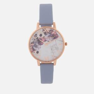 Olivia Burton Women's Marble Florals Watch - Chalk Blue/Rose Gold