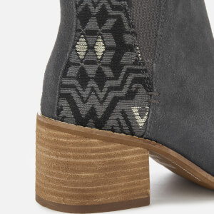 TOMS Women's Esme Suede/Metallic Jacquard Heeled Chelsea Boots - Forged Iron: Image 4