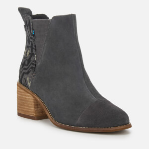 TOMS Women's Esme Suede/Metallic Jacquard Heeled Chelsea Boots - Forged Iron: Image 3