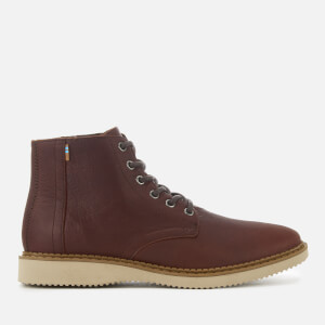 TOMS Men's Porter Leather Water Resistant Lace Up Boots - Dark Brown