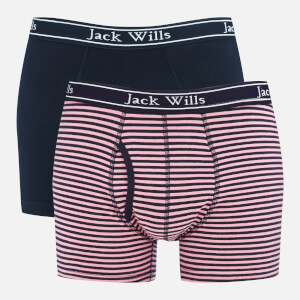 Jack Wills Men's Chetwood 2 Pack Jersey Boxer Shorts - Navy/Pink